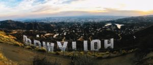 The back of the Hollywood sign with a view of Los Angeles California.