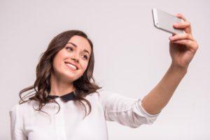 Girl shooting selfie video