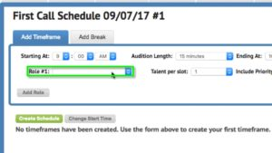 Scheduling talent | Casting Frontier