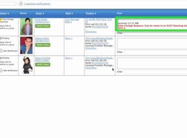 How to Chat with Casting Directors on the Status Page