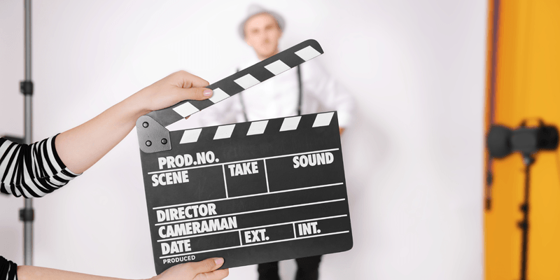 Film clapboard being used during an acting audition.