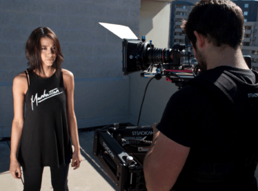 Actor being filmed